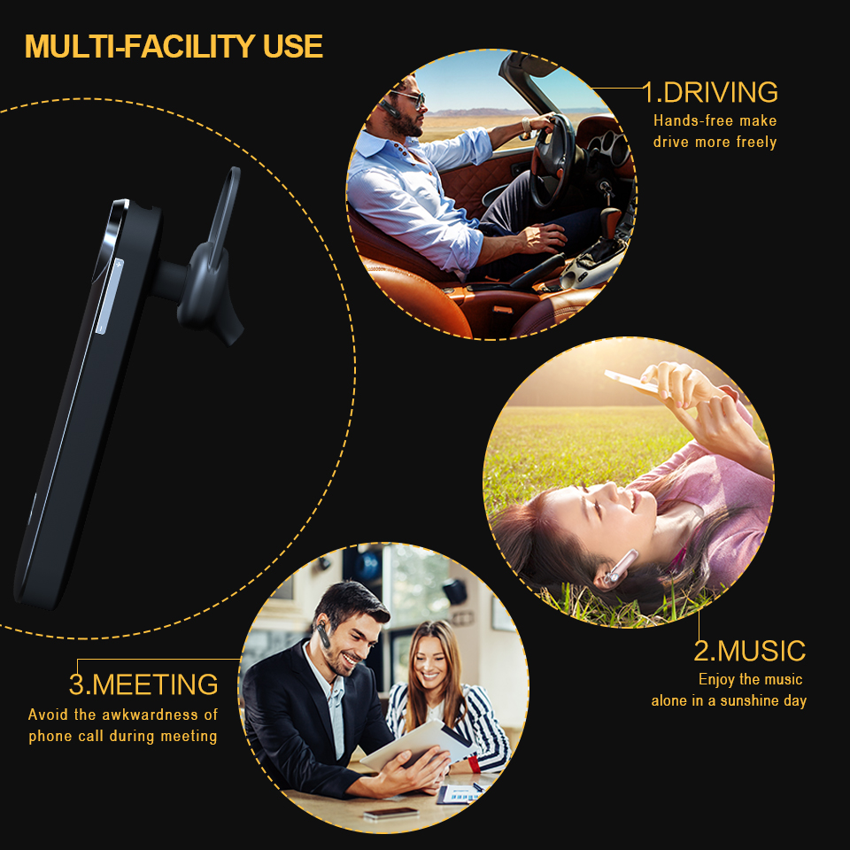 LANSHA 30 Days Standby Hands Free Bluetooth V4.1 Earphones Wireless In-ear Headset Headphones With Mic In Car For Mobile Phones