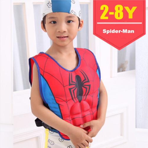Size 2-8 baby boys children swimming life vest life jacket Superman Spider-man Batman Buoyancy clothing cool for kids(China (Mainland))