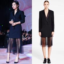 2016 spring new coming  slim gauze blazer full dress women one-piece dress  women long sleeve dress(China (Mainland))