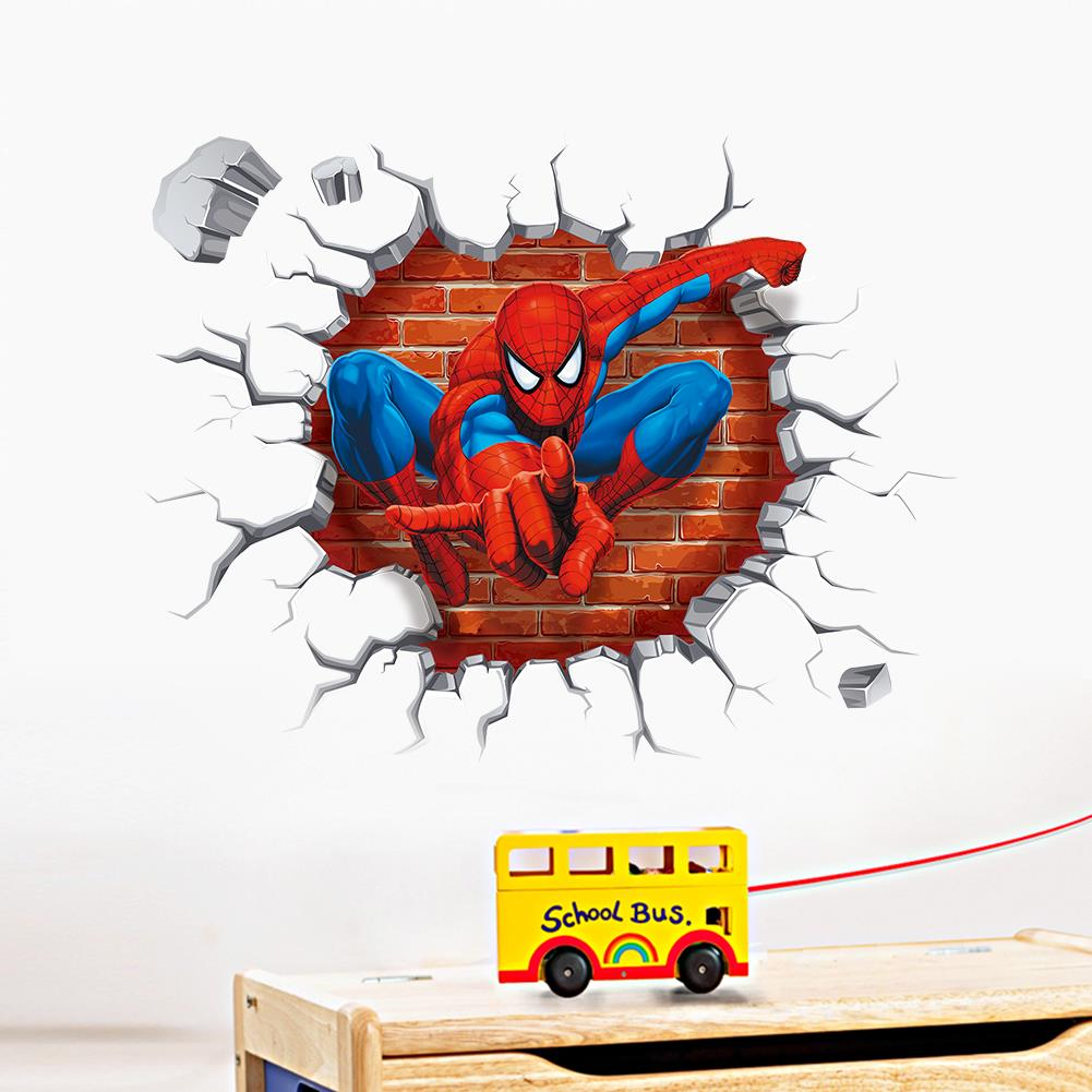 2015 3d spiderman wall stickers for kids rooms decals home for Sticker mural 3d