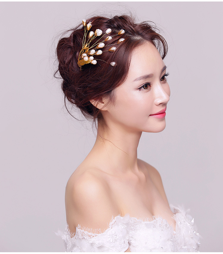 Wedding hair accessories pearls hair claws gold hairpins romantic women's party hair decoration bridal headdress hair jewelry(China (Mainland))