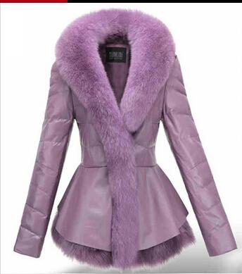 2014 New Womens Genuine leather Coat large fox Fur collar Sheepskin slim Fashion Ladies Dropship - China BOB'S Grand Clothing Store store
