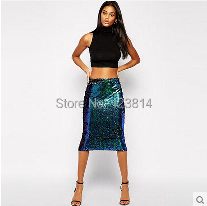 New Hot Fashion Women Sexy Pencil Skirt Novelty Sequins Peacock Blue Mid-Long Hip Package Natural Waist Casual Skirts D809(China (Mainland))