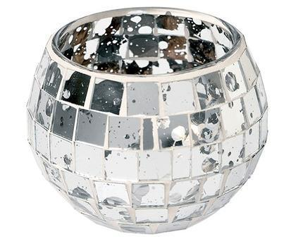 Wholesale Tealight Candle Holder with Silver Mirror Mosaic/ Tealight Holder/ Barware/ Glowing Glass Candle Holders