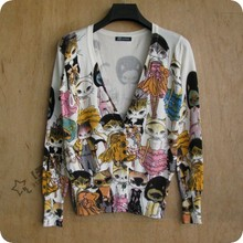 The new spring and autumn Couture cat Abstract printing dyeing short high elastic slim long sleeved knit cardigan(China (Mainland))