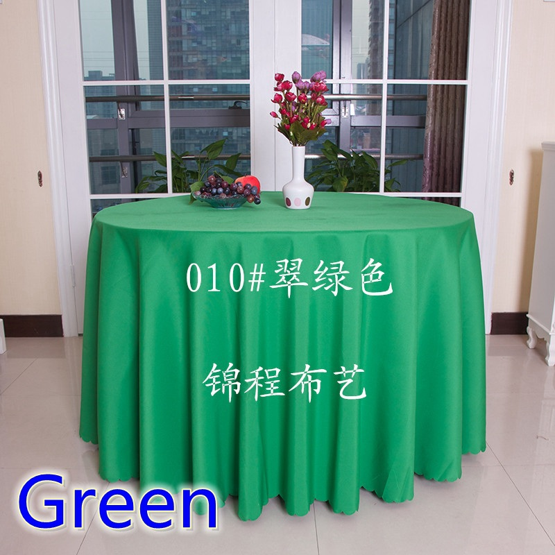 Green round dining table cloth,polyester table cover,for wedding,hotel and restaurant round tables decoration,200GSM(China (Mainland))