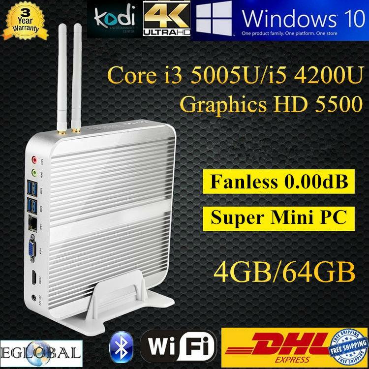 Eglobal HTPC Win10 Linux Kodi 4K HD Haswell Intel Core i5 4200U Broadwell i3 5005U 4GB DDR3L 64GB SSD MINI PC DHL Free Shipping(China (Mainland))