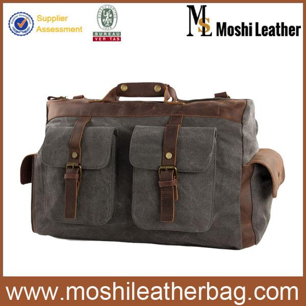 15 Canvas Leather Travel Bag Briefcase Messenger Bag Shoulder Bag Dufulle Bag 1858<br><br>Aliexpress