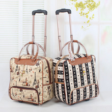 "Wholesale!18"" female travel duffle bags on wheel,girls lovely cartoon travel bags,18 colors(types) available,good quality bags(China (Mainland))"