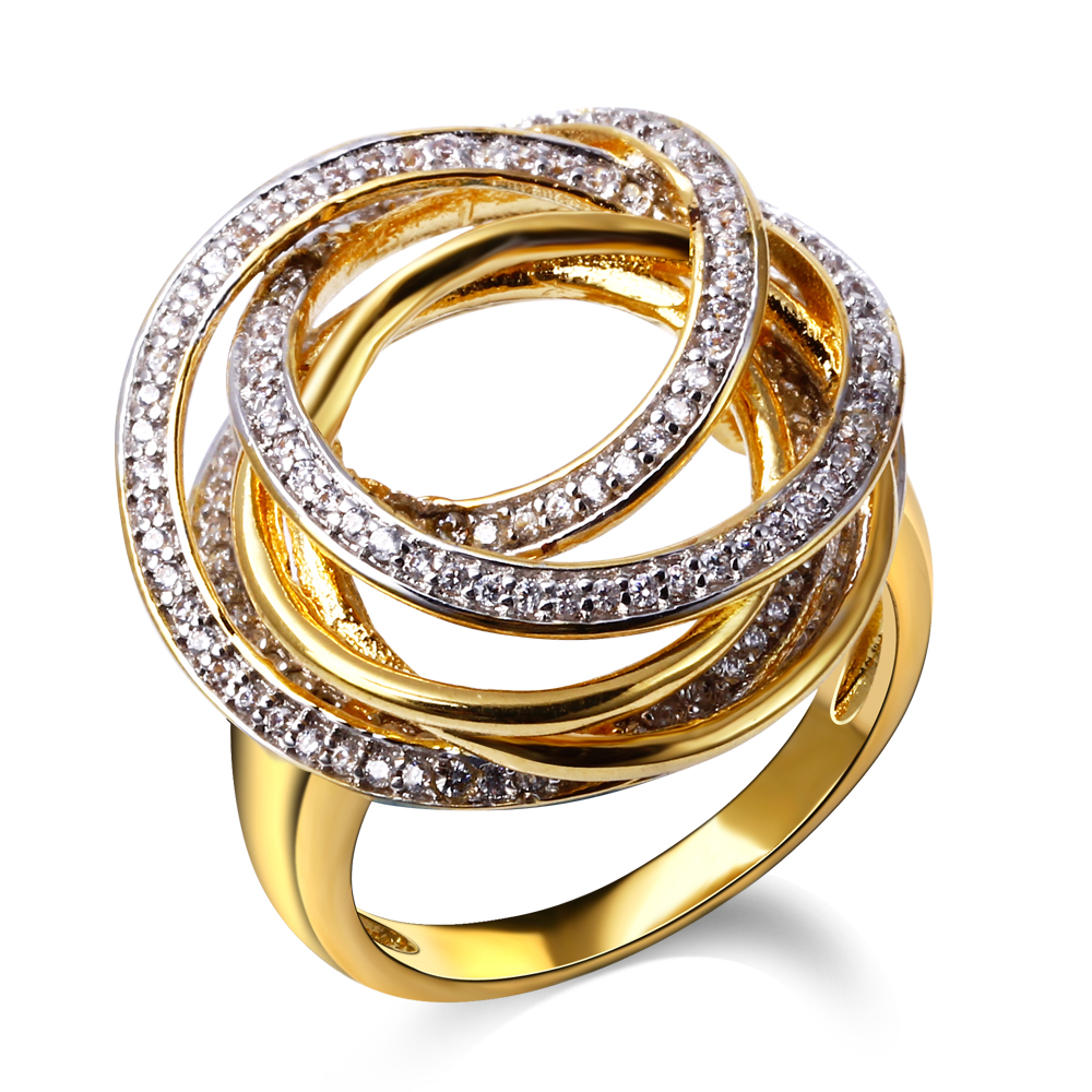 DC1989 Nice Design Women Elegant Rings Deluxe Cubic Zirconia 18k Gold Plated Bridal Wedding Jewelry(China (Mainland))