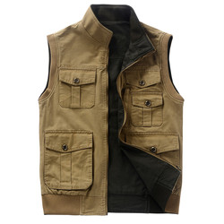 Double Side Men Outwear Fashion Military Halecos Hombre 100% Cotton 2015 Vest Men Army Green Khaki Big Size L-4XL 5XL A3155
