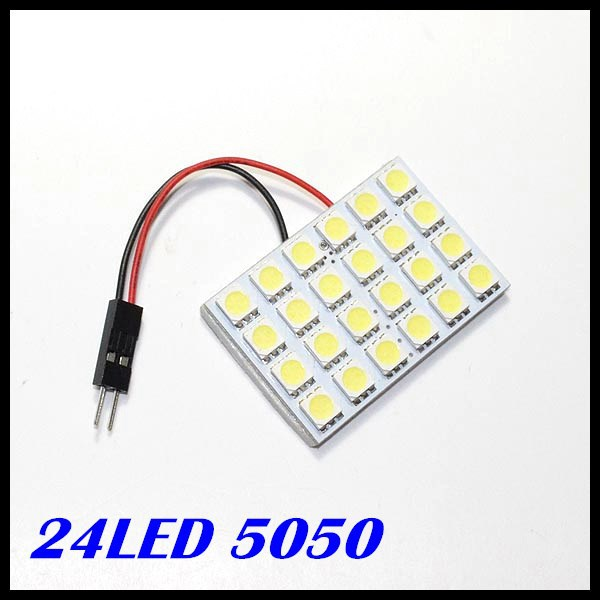 12v Panel LED Lamp 24 SMD 5050 Interior Room Dome Door Car Light Bulb with 2 Defferent Adapter<br><br>Aliexpress