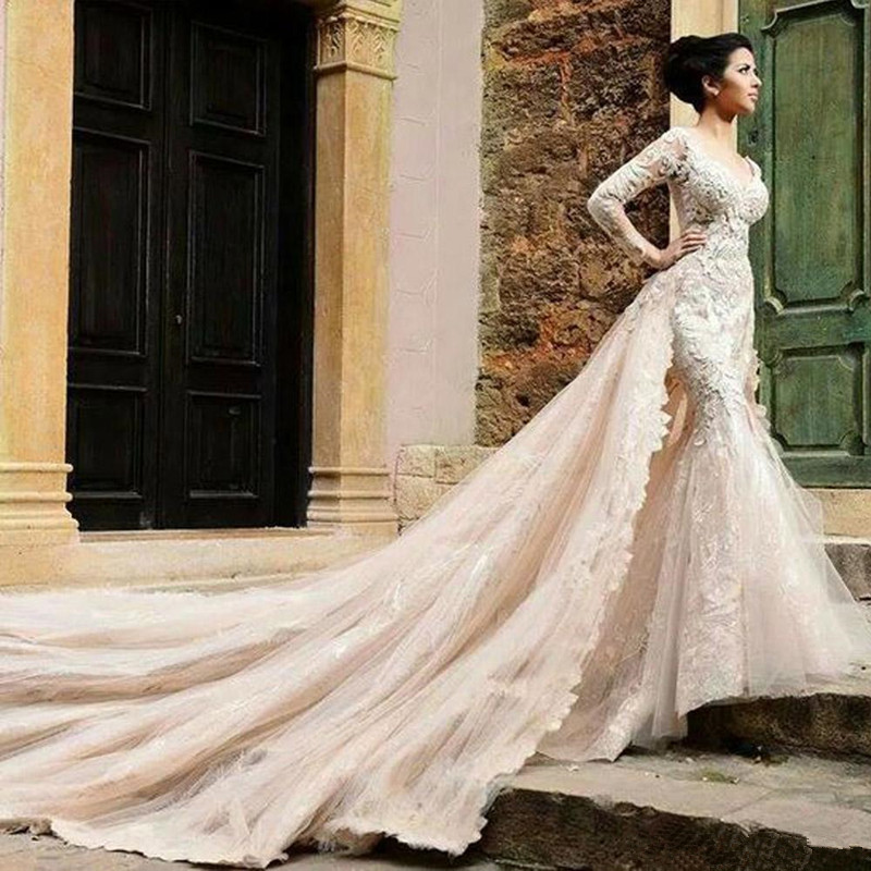 2016 Mermaid Wedding Dresses With Detachable Catherdral