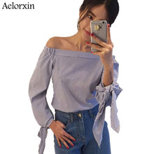 Buy Women Blouse Elegant Bow Blue Shoulder Female Blouse Shirt Sexy Summer 2017 Girls White blouse Women Tops Striped Blusas 3XL for $7.82 in AliExpress store
