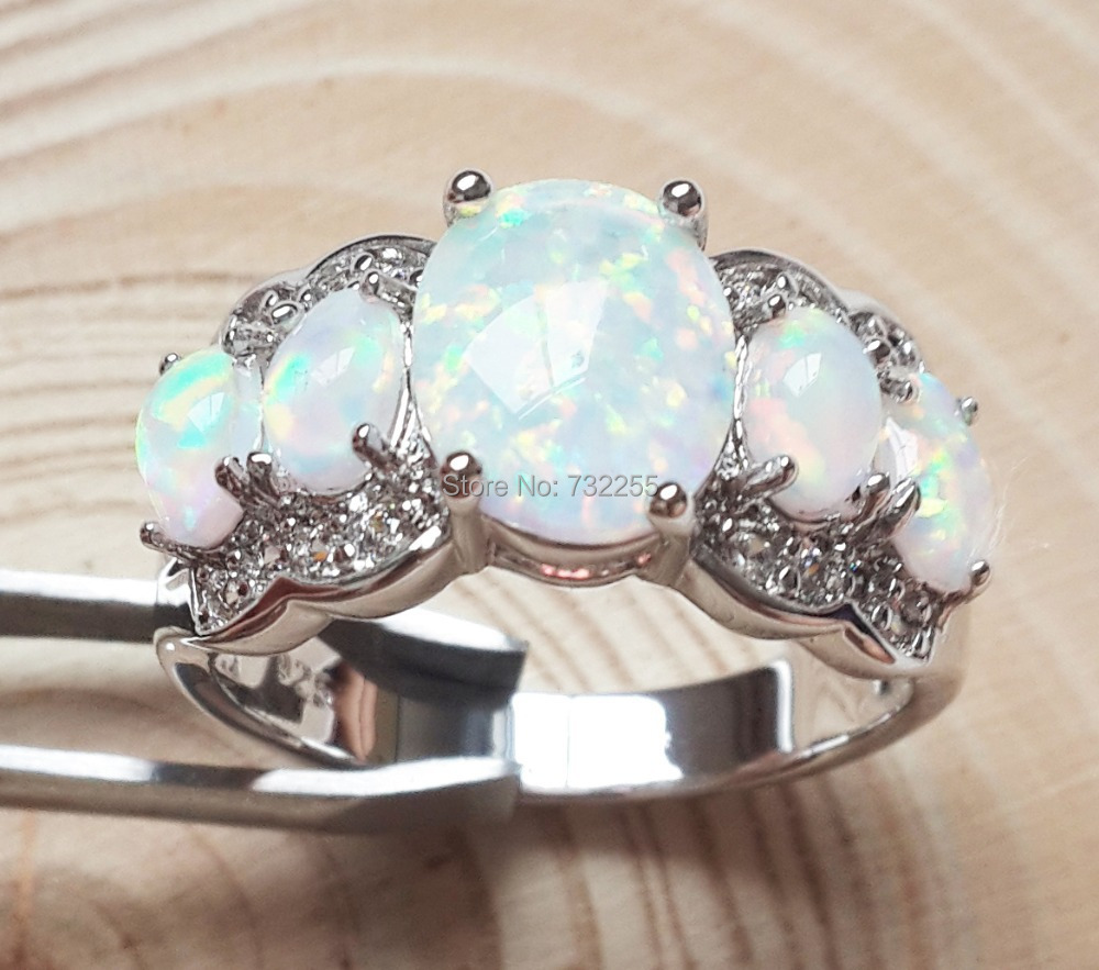 White fire opal rings new fashion jewelry for women(China (Mainland))