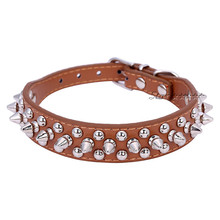 Chic Pet Dog Rivet Collar Spiked Studded Strap Pitbull Collar PU Leather Pet roducts Free Shipping(China (Mainland))