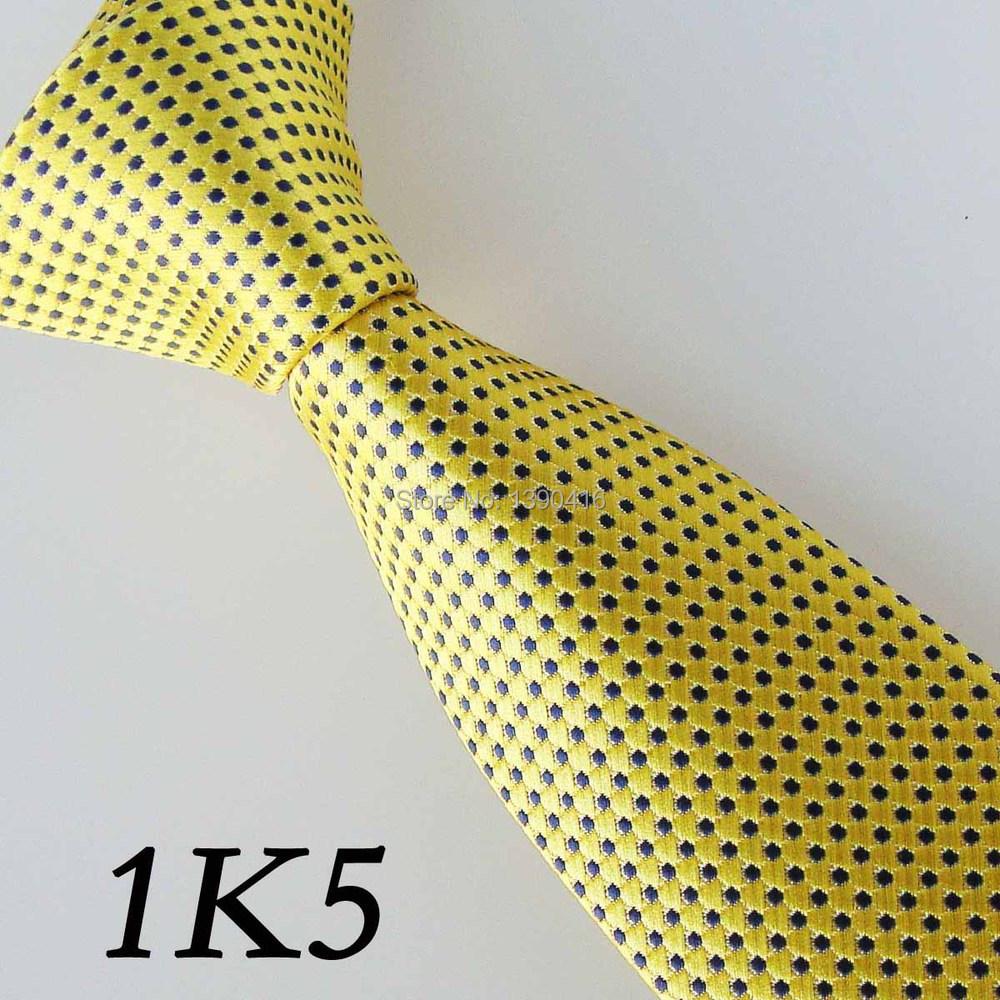 2015 Latest Version Border Navy Blue/Bright Yellow Grid Dot Necktie Good-Looking Ties For Men Groom Bestman Tie Men Necktie(China (Mainland))