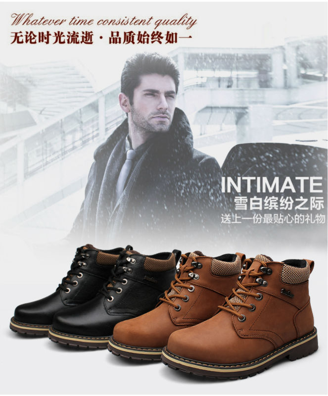 2014 Men's Warm Winter Boots 100% Genuine Leather Fluff Low-heeled