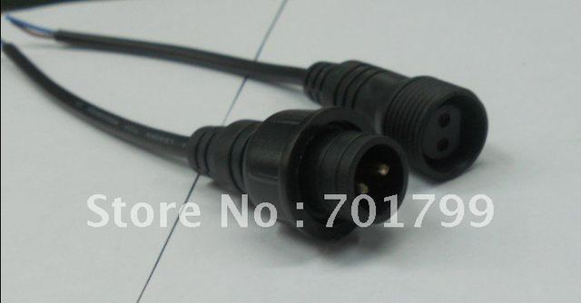 2core  waterproof connector with 20cm long cable,male and female;black color: the male connect's diameter:15mm