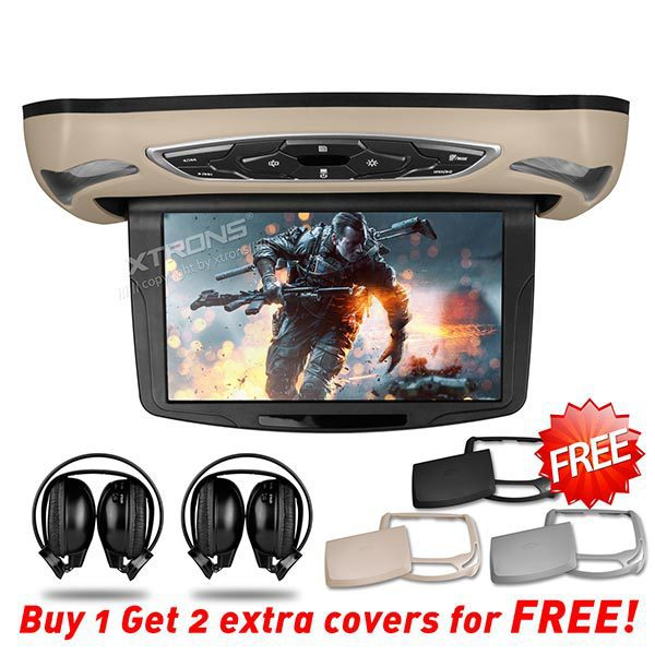 """10.1"""" Car Roof Mounted DVD Monitor, HDMI 1240*600 Touch Button Extra Case & IR headphones,Flip Down Monitor Overhead Ceiling DVD(China (Mainland))"""