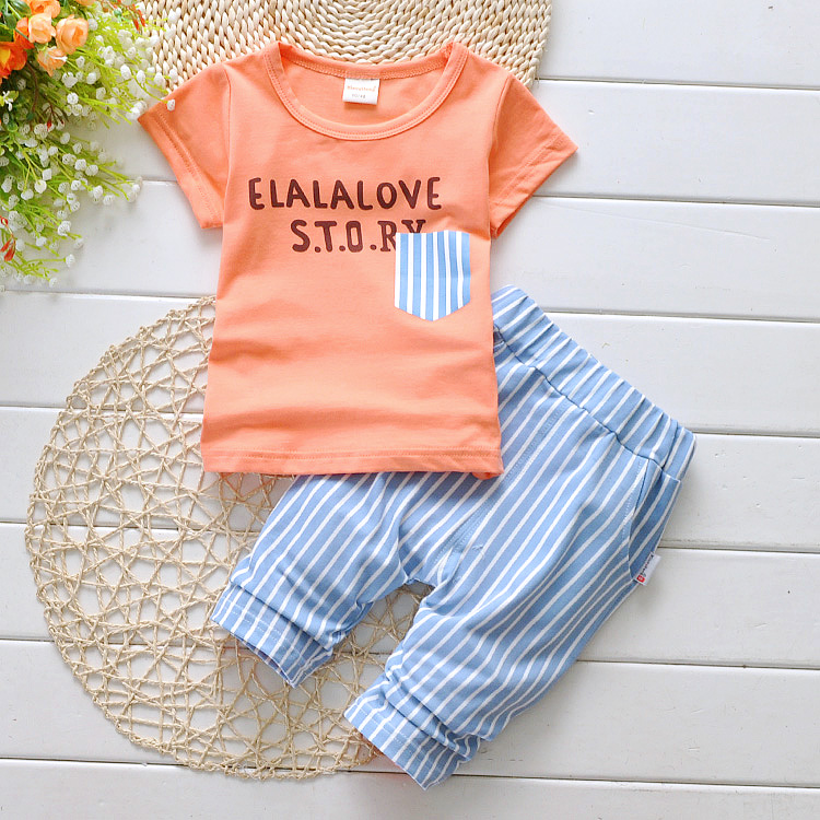 2016 summer baby kids children unisex boys girl short T shirt pants set sports soft clothing set fashion school clothing letter(China (Mainland))