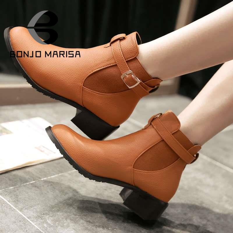 On Sale Women Ankel Boots Roman Chunky Med Heels Buckle Spring Autumn Shoes Platform Motorcycle Snow Style Boots Big size 34-43<br><br>Aliexpress