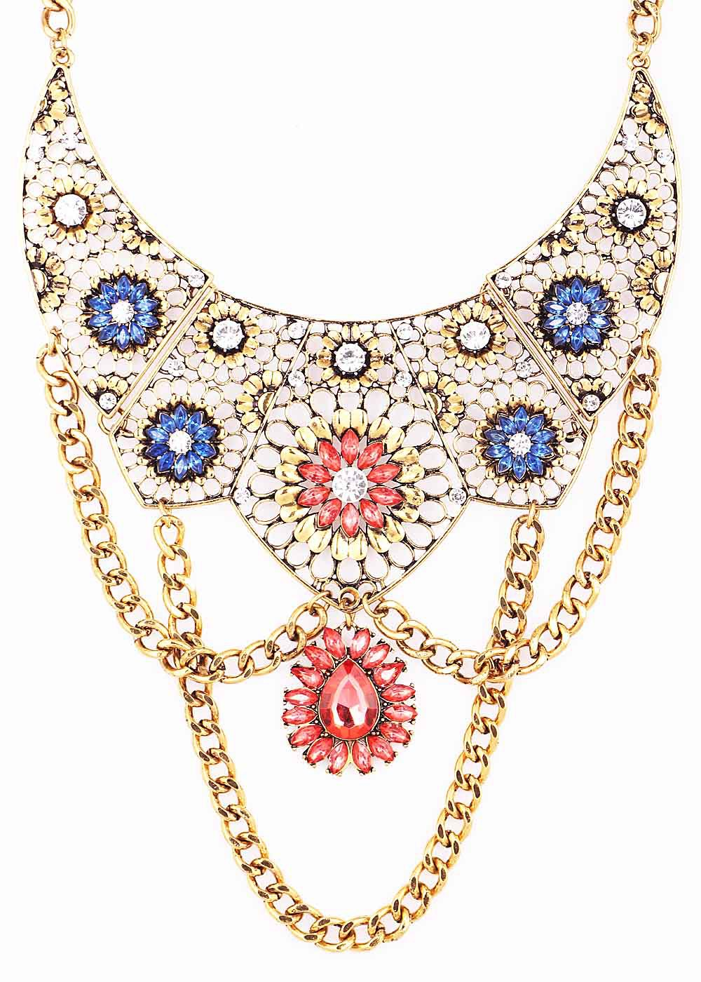 New Handmade Fashion Woman Noble Antique Gold Ox-head Style Pendant Red Crystal Bib Statement Chunky Choker Necklaces(China (Mainland))