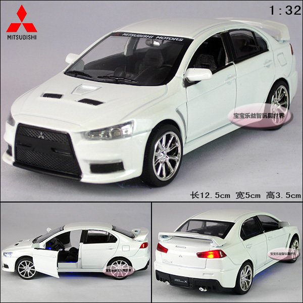 New1:32 Mitsubishi Landcer EVO Diecast Model Car With Sound&Light White Toy collection B235(China (Mainland))