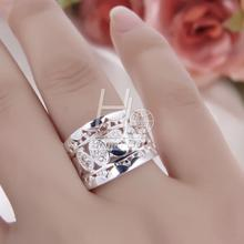 Women New Fashion Natural Crystal 925 Solid Sterling Silver Round Ring Fashion Jewelry Size 7 8 Drop Shipping Wholesale