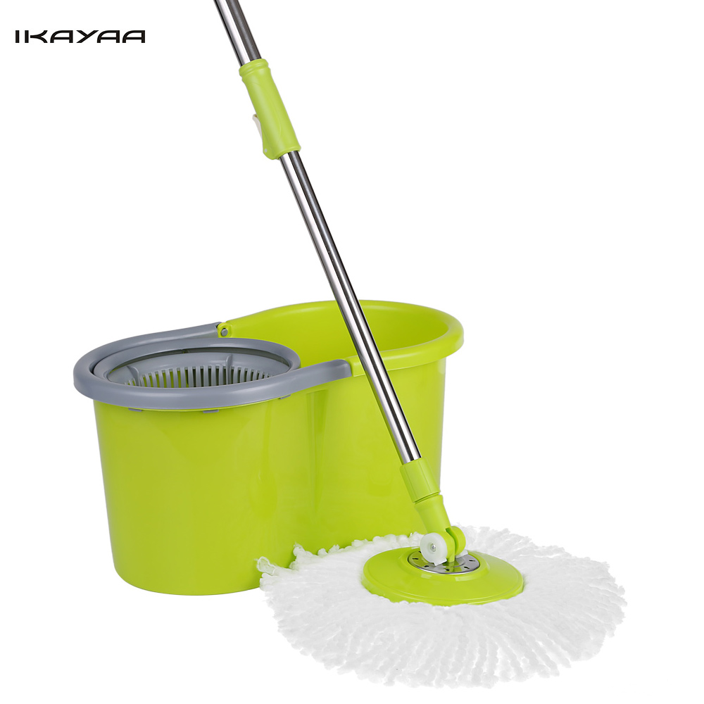 IKAYAA Spin Mop Stainless Steel 360 Rolling Magic Spin Mop & Bucket Set Rotating Easy-Wring Floor Mop W/ 2 Microfiber Mop Heads(China (Mainland))