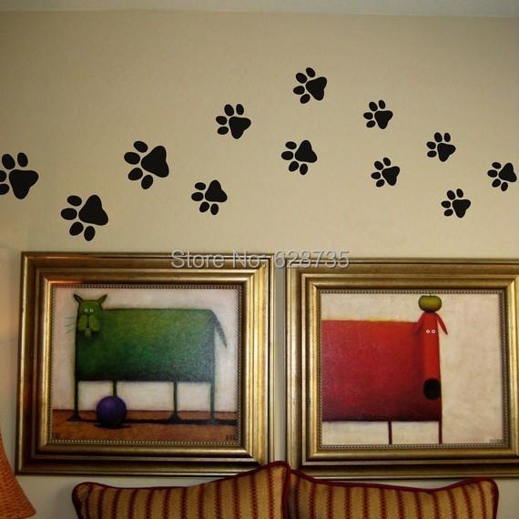 Pootafdruk Muurstickers 20 Wandelen Pootafdrukken Muurtattoo Huis Art Decor Hond Kat Voedsel