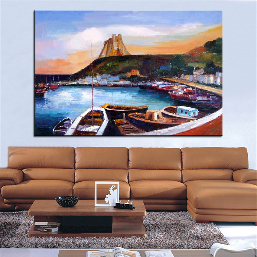 extra large wall painting of wharf home office decoration. Black Bedroom Furniture Sets. Home Design Ideas
