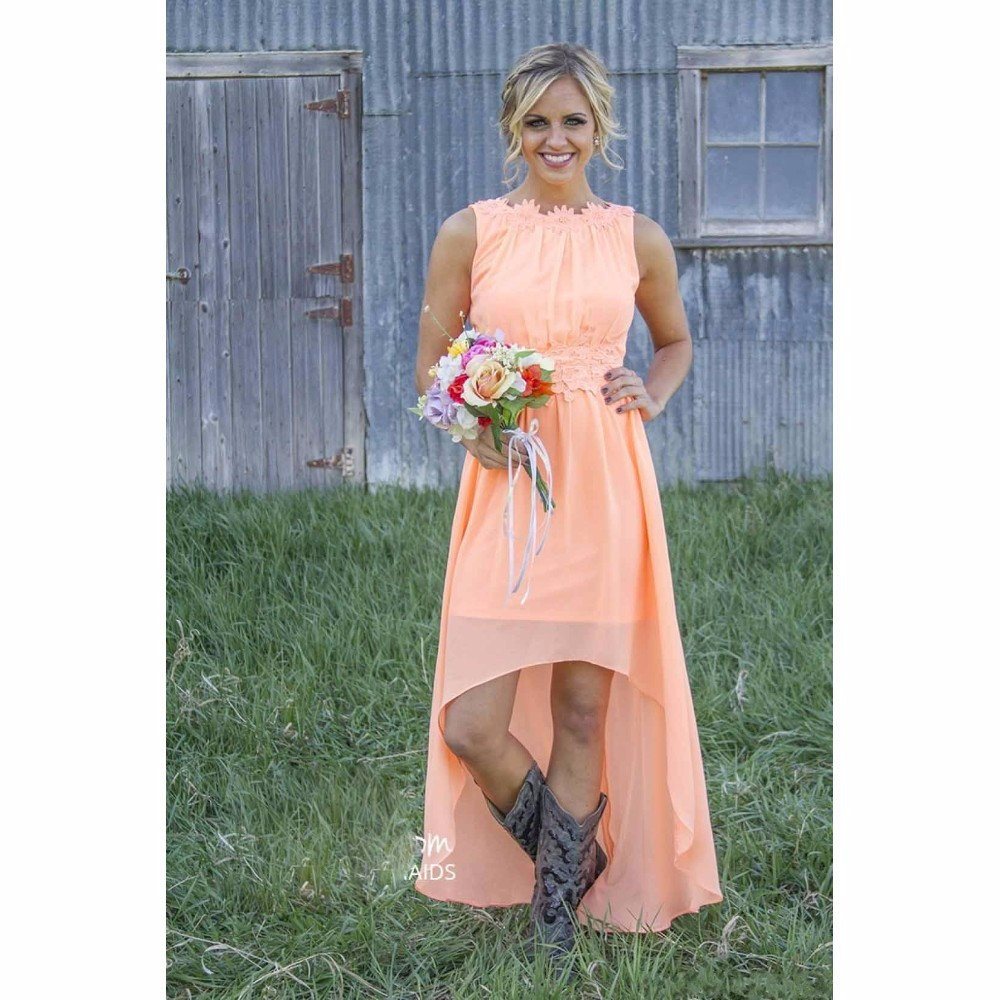 Peach color promotion shop for promotional peach color on for Country wedding party dresses
