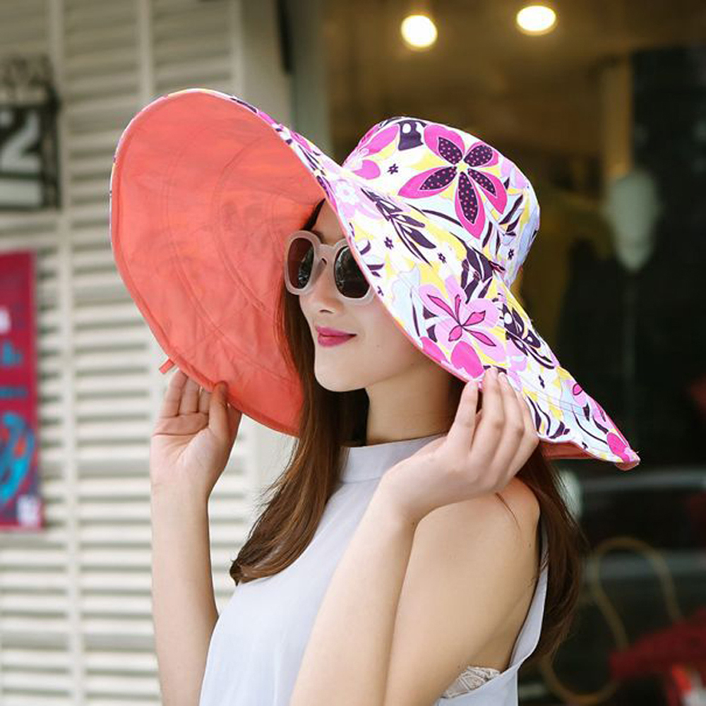 2017 Summer large brim beach sun hats for women UV protection women caps hat with big head foldable style fashion lady's sun hat