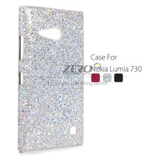 For Nokia Lumia 730 735 Case Fashion Luxury Bling Sequined Cover Hard Back Case Protective Shell for Lumia 730 Black Silver Rose(China (Mainland))