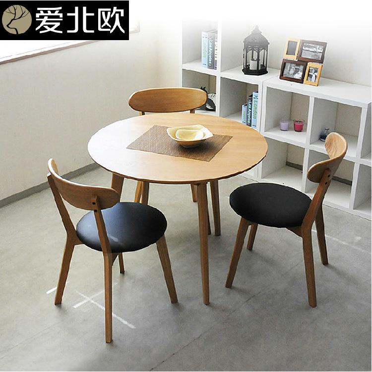 Tavola rotonda/moderna piccola famiglia in legno massiccio tavolo e sedia/tavolo da pranzo ...