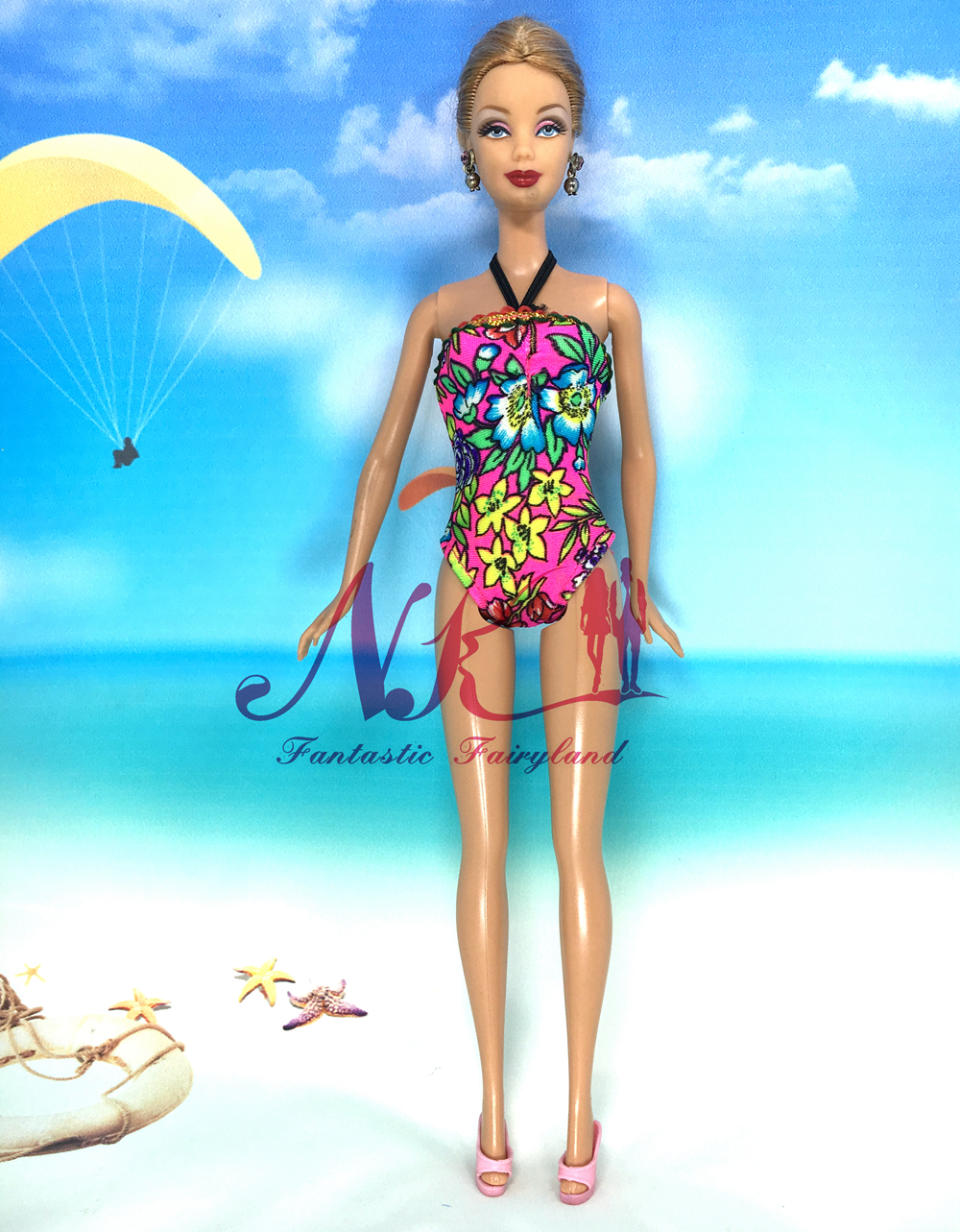 NK Doll corset Swimwear  Pants+Slippers+Swimming Buoy Lifebelt Ring For Barbie Doll Greatest Lady' Reward 005Q