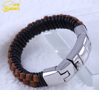 2016 Nicaragua Popular Jewelry Black&Brown Leather Bracelets Stainless Steel Button Clasp Men's Accessory Made In China(China (Mainland))