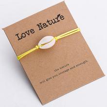Pipitree אהבה טבע צמיד מעטפת קראפט נייר מאחל כרטיס מתנה בעבודת יד אדום מחרוזת צמידי נשים גברים ילדים תכשיטים(China)