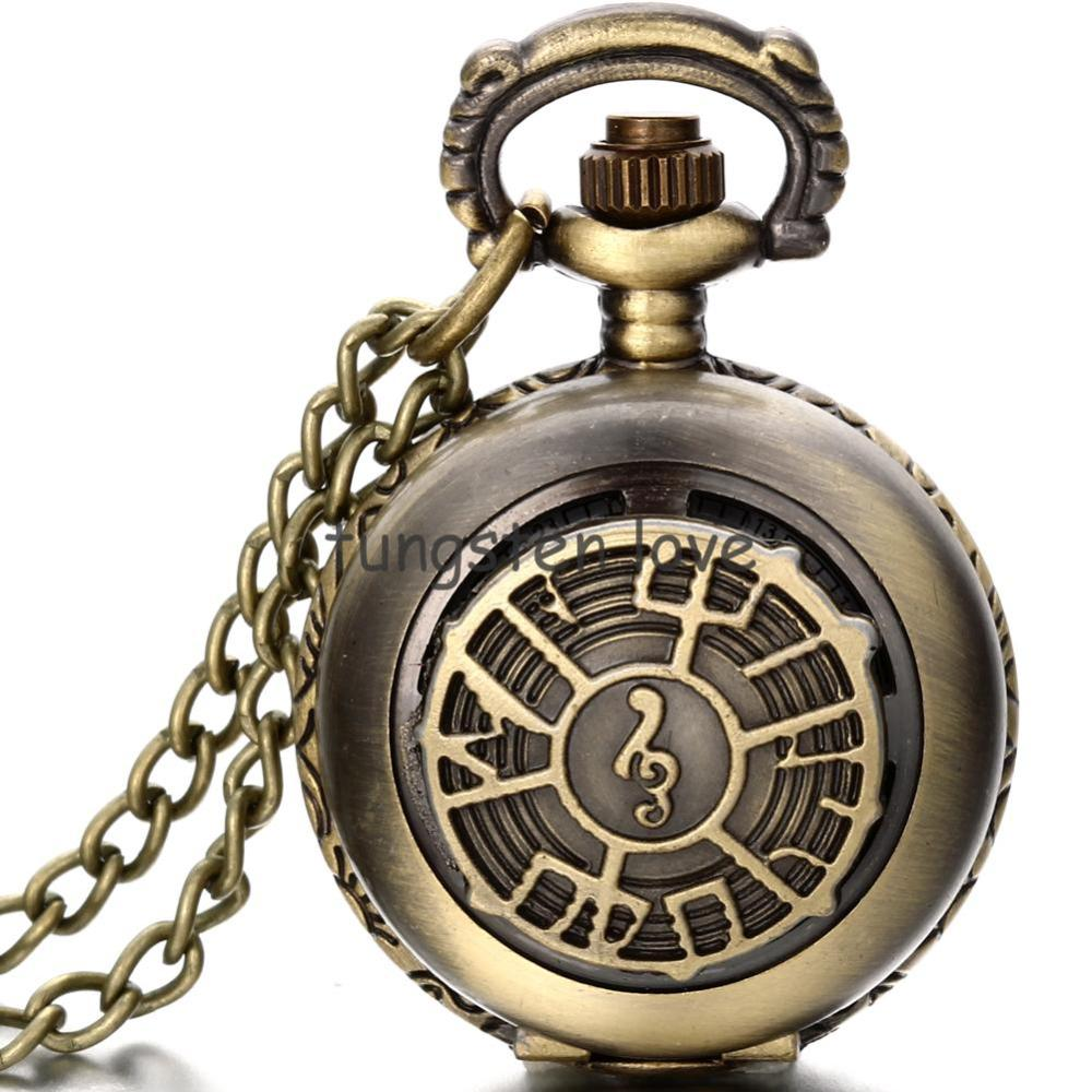 Vintage Music Note Pendant Bronze Tone Cable Chain Pocket Watch Pendant Necklace 80cm gifts for men women(China (Mainland))