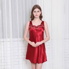 Plus Size Women Pyjamas Lovely Girl Lady Sleepshirt Rayon Faux Silk Sleeveless Suspenders Sleepshirts Summer Nightgowns M-4XL(China)