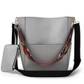 vintage Colorful Strap Bucket Bag Women High Quality Pu Leather Shoulder Bag Brand Desinger Ladies Casual