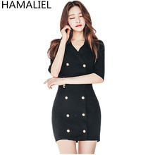 Buy HAMALIE High Summer Women OL Sweater Dress New 2017 Sheath Knit Double-Breasted Notched Collar Female Pencil Work Dress for $22.71 in AliExpress store