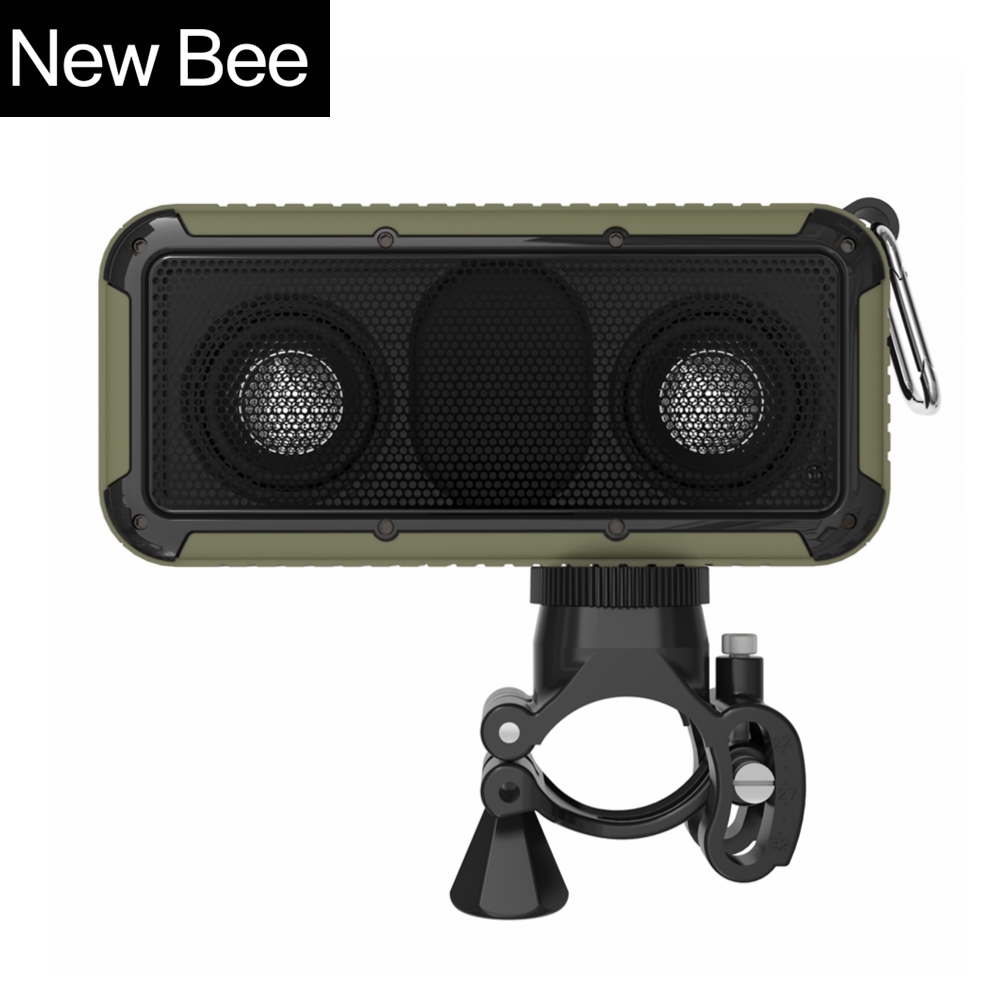 New Bee Outdoor Portable Waterproof Wireless Bluetooth Speaker with Microphone 3.5 Jack NFC Bicycle Mount LED Flashlight Hook(China (Mainland))