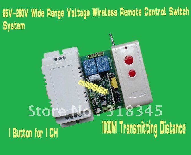 85V-280V  200V/277V/100V 120Vetc wide range voltage  RF wireless remote control switch system 1Receiver &amp;1Transmitter 1000M 315<br><br>Aliexpress
