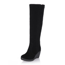 DoraTasia 34-43 Winter 3 Arten Pelz Stiefel Damen High Heels Plattform Kniehohe Schnee Stiefel Frauen 2019 Warme pelz Keil Schuhe Frau(China)