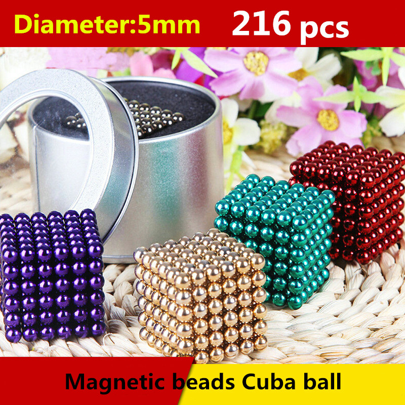 wholeslale Diameter 5mm Buck yballs Neo cube Magic Cube Puzzle Magnetic Magnet Balls Spacer Beads Education Toy + Gift Box(China (Mainland))