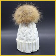 2016 Fashion Women's Winter Raccoon Fur Hats 100% Real 15cm Fur Pompom Beanies Cap Natural Fur Hat For Women(China (Mainland))