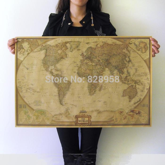 English World Map Home decor wallpaper Wall sticker Classical decoration 72.5CM*47.5CM(China (Mainland))