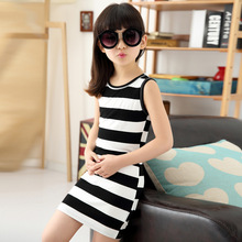 sundress Casual Girl Dress Black And White Stripes Vest Dress Girl Cotton 3-14 Years Kids Summer Sleeveless children Dress 2016